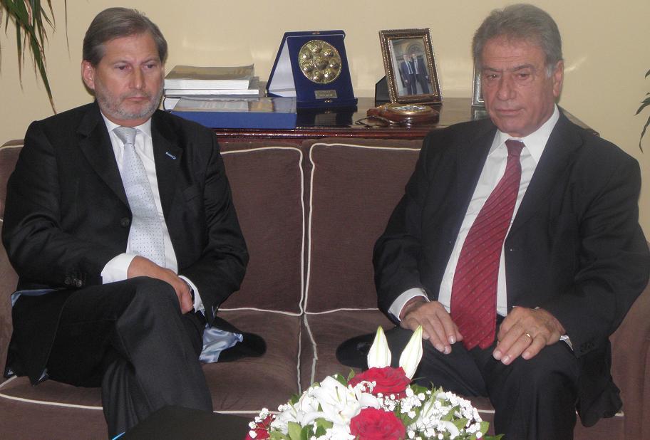 Ο Επίτροπος της ΕΕ Johannes Hahn μαζί με τον Περιφερειάρχη Σπύρο Σπύρου